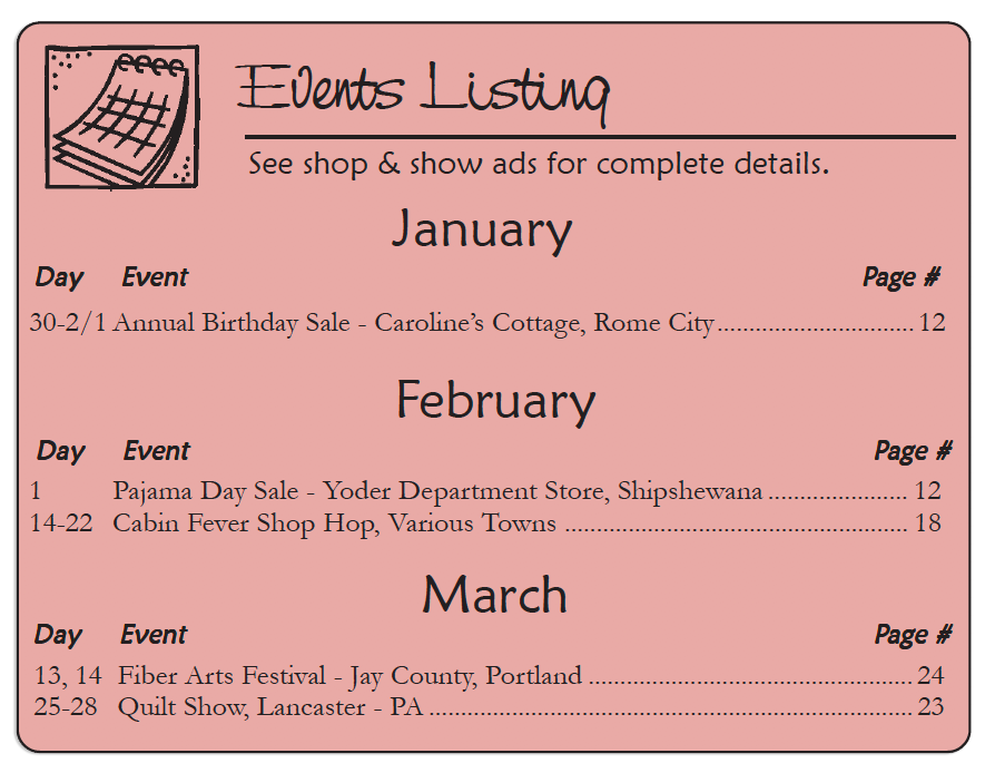 The Country Register of Indiana - Advertiser's Events Listing JAN-FEB 2020